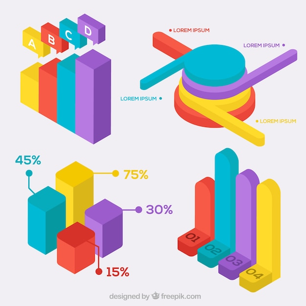 Pack of isometric colored charts