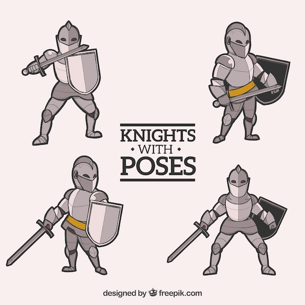 Pack Of Knight Poses Vector