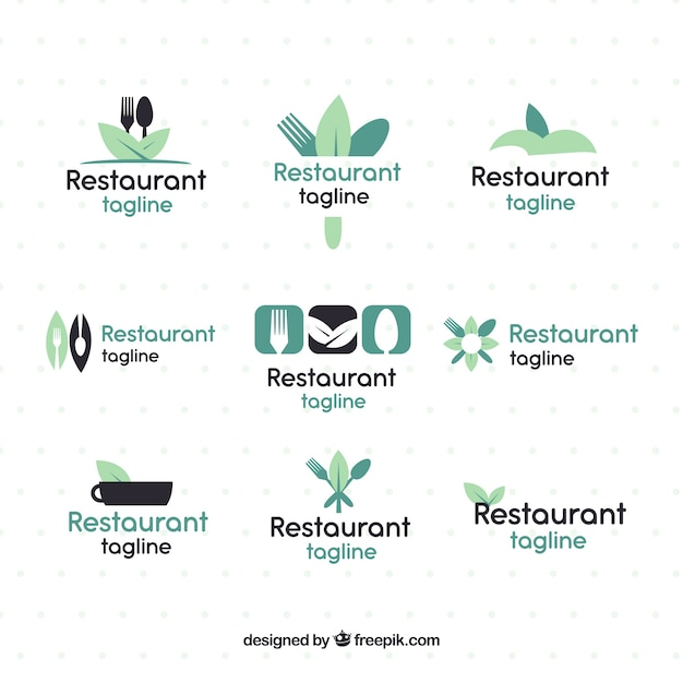 Pack of logos for restaurants with organic food