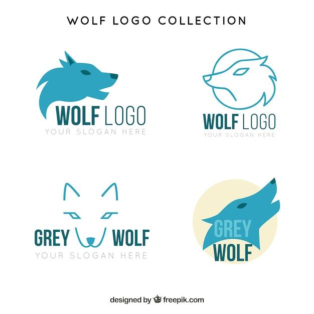 青いオオカミのロゴのパック Premiumベクター