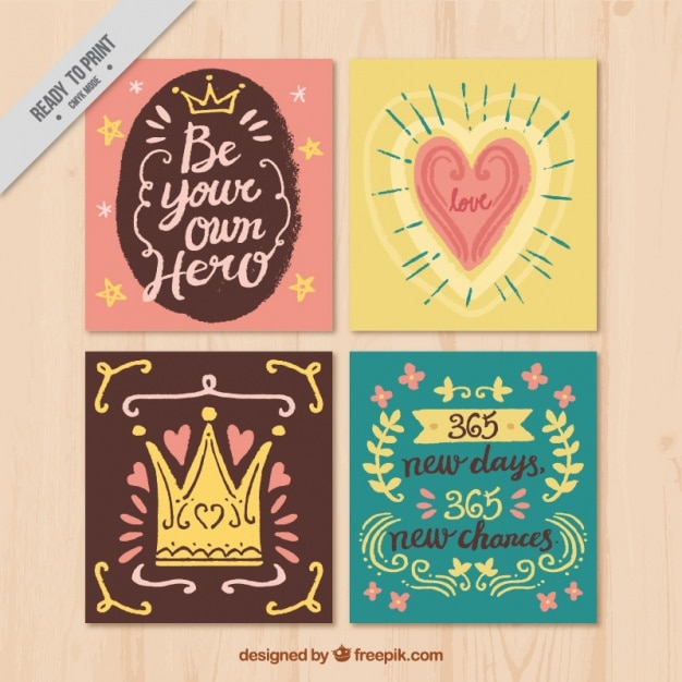 pack of love and new year cards in retro style free vector