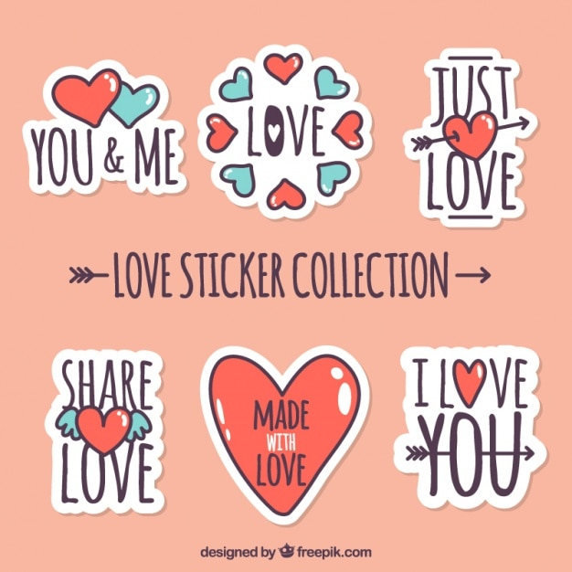 Pack of love stickers with red and blue hearts