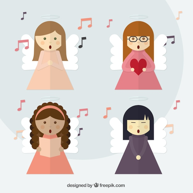 Pack of lovely angels singing in flat design