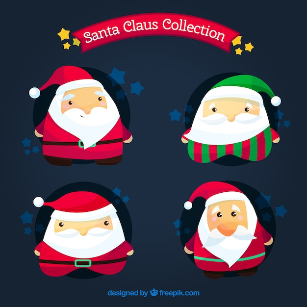 Pack of lovely characters of santa claus
