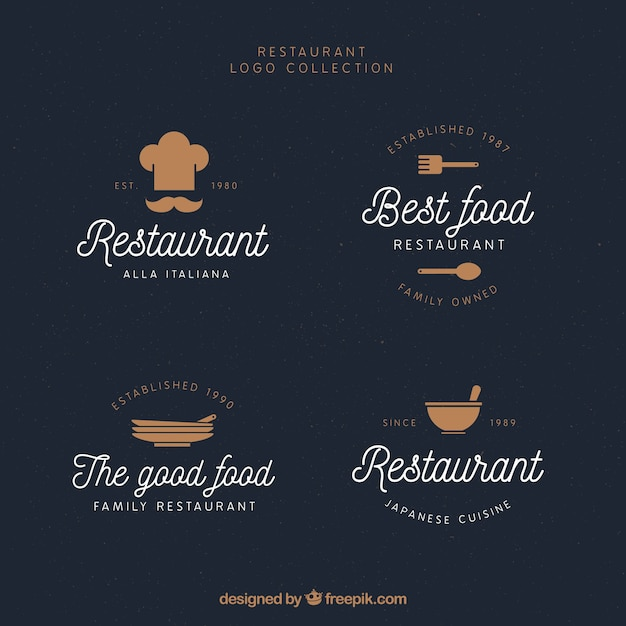 Pack of lovely restaurant logos with vintage style