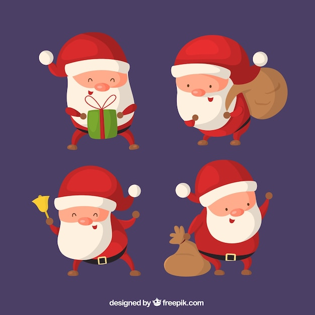 Pack of lovely santa claus characters