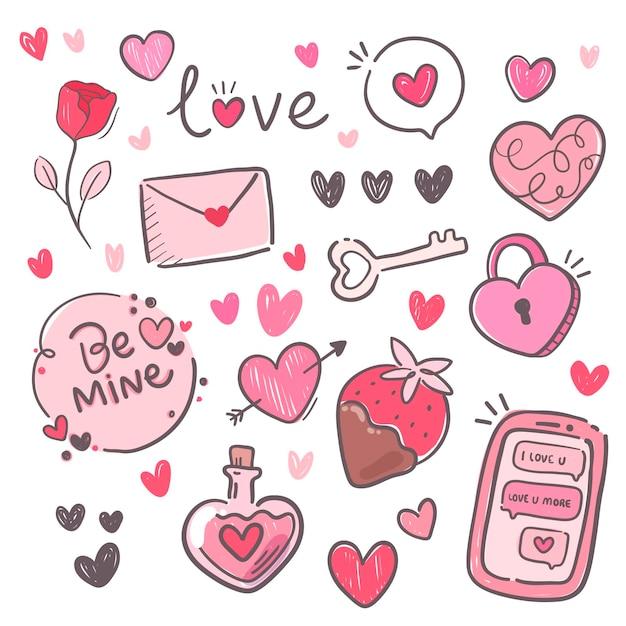素敵なバレンタインデーの要素のパック 無料ベクター
