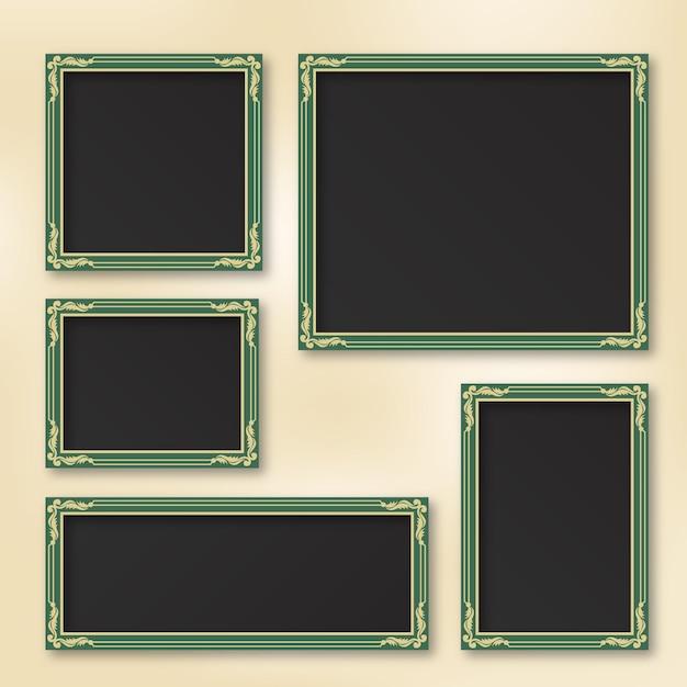 Пакет прекрасных старинных рамок для альбомов Premium векторы