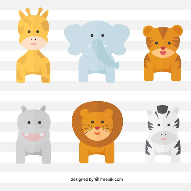 Pack of lovely wild animals in flat\ design