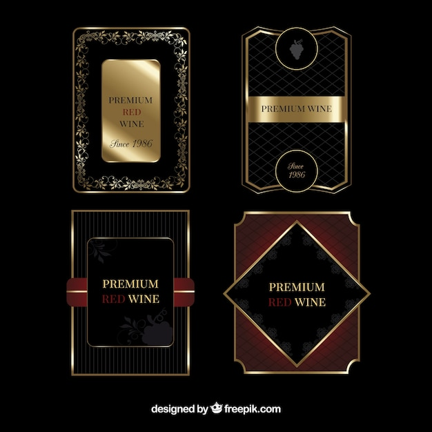 Pack of luxury wine labels