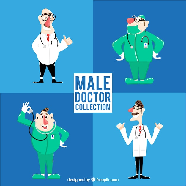 Pack of male characters of doctors and surgeons