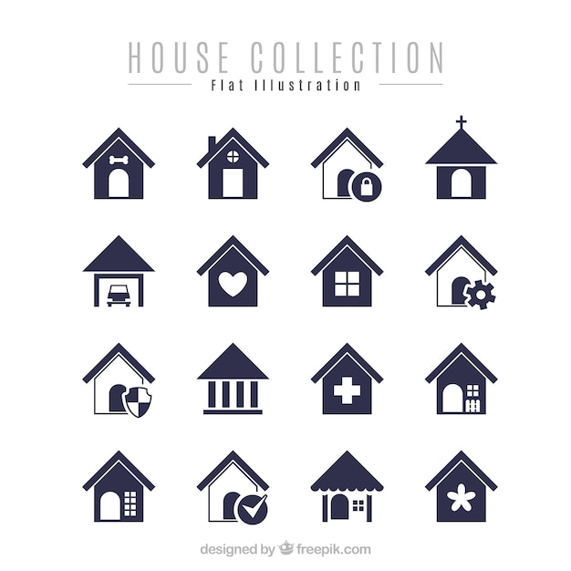 Pack of minimalist houses Free Vector