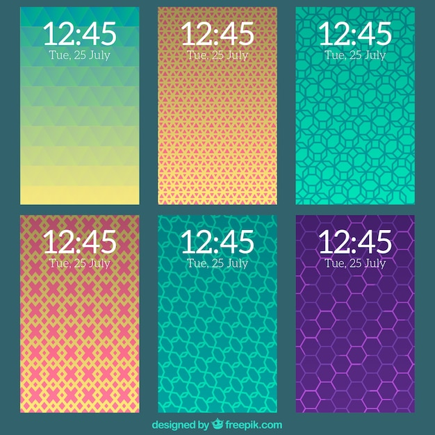 Pack of mobile wallpapers with abstract shapes