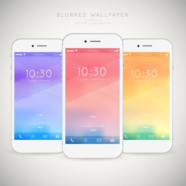 Pack of mobiles with abstract colored wallpapers