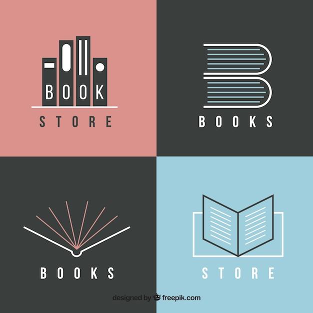 Pack of modern book logos  Free Vector