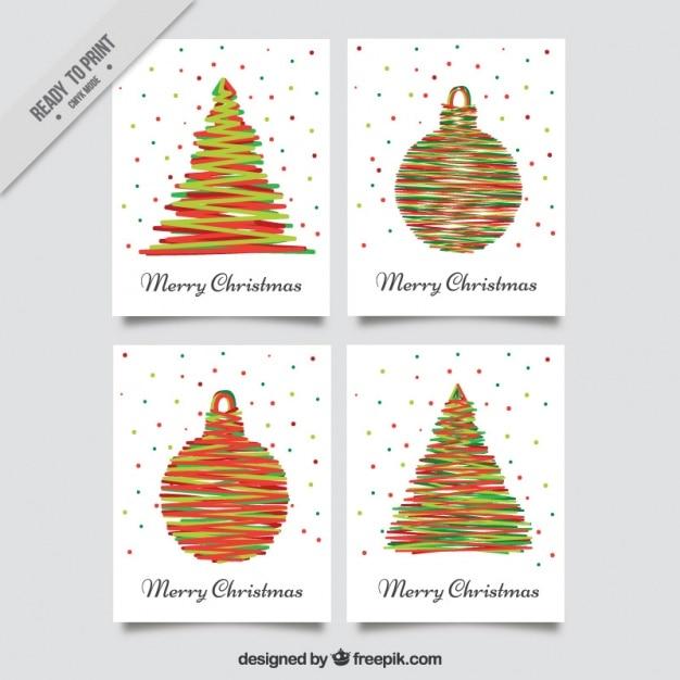 Pack of modern christmas greetings