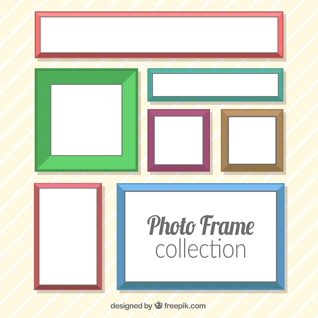 Pack of modern colored photo frames