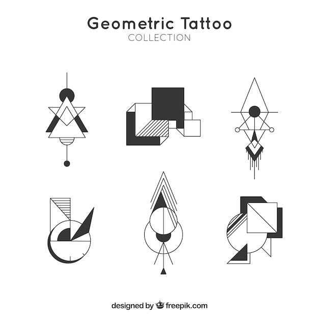 Pack of modern geometric tattoos