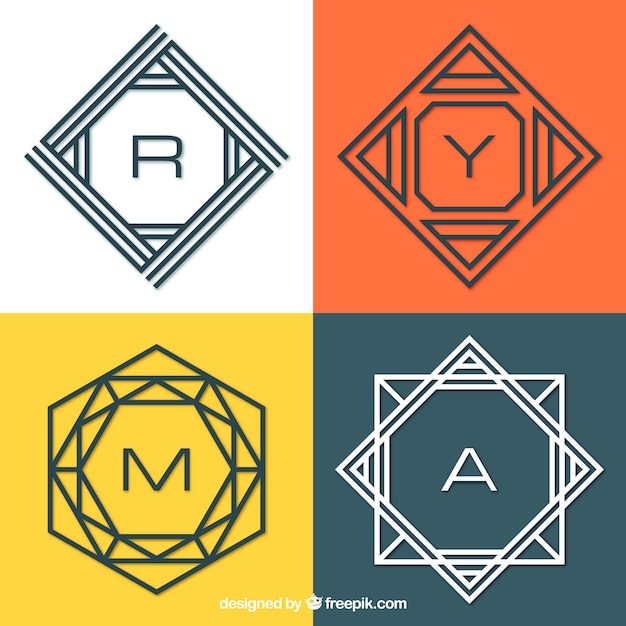 Pack of modern monograms