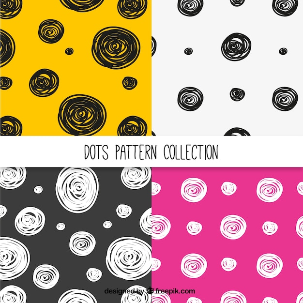 Pack of modern patterns of hand drawn circles