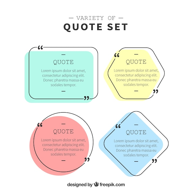 Pack of modern quote frames