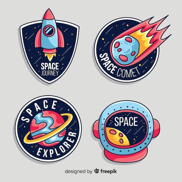 Пакет современных космических стикеров Бесплатные векторы