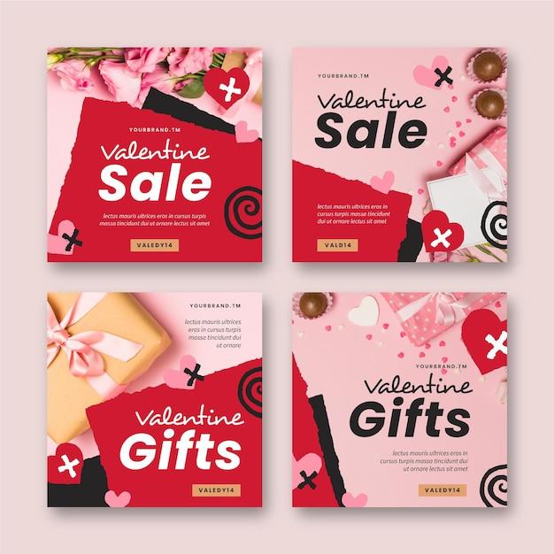 Пакет современных сообщений о продаже на день святого валентина Бесплатные векторы