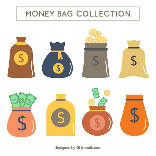 Pack of money bags in flat design