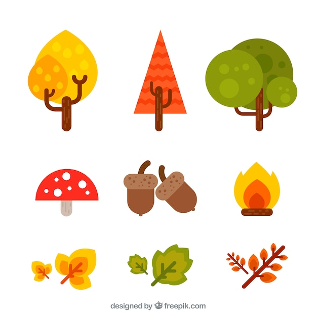 Pack of natural elements of autumn in flat design Free Vector