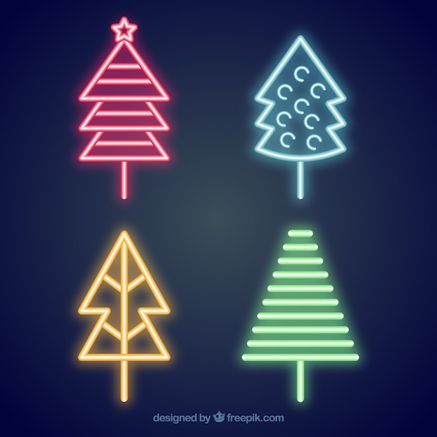 Pack of neon christmas trees
