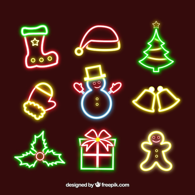 pack of neon lights christmas free vector