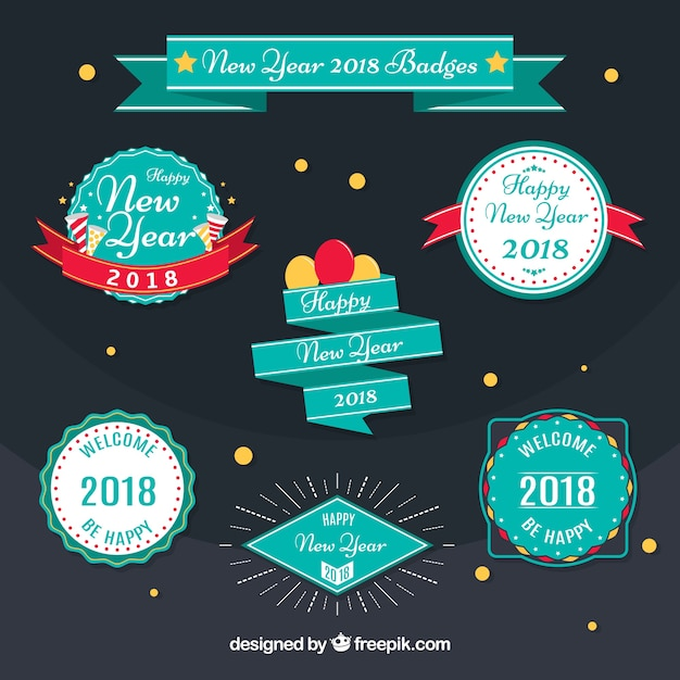 Pack of new year badges 2018 in retro style