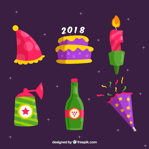 Pack of new year celebration elements