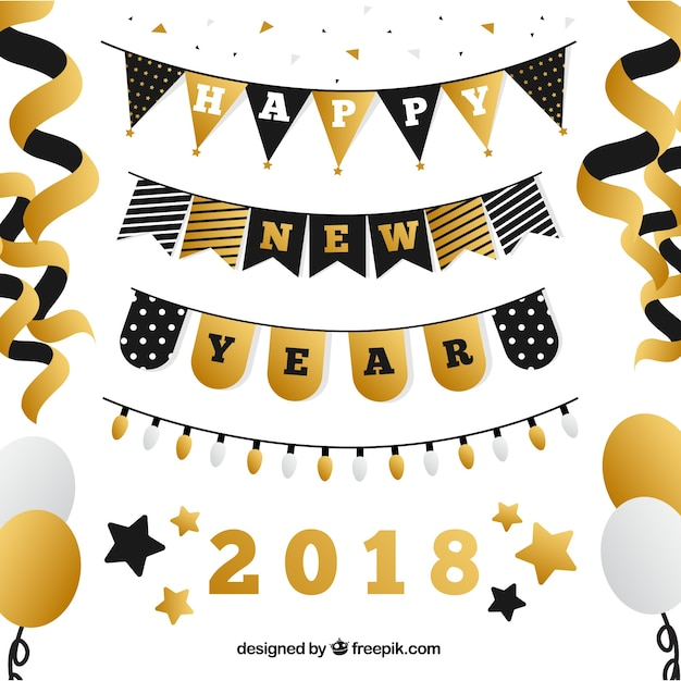 Pack of new year decorative elements