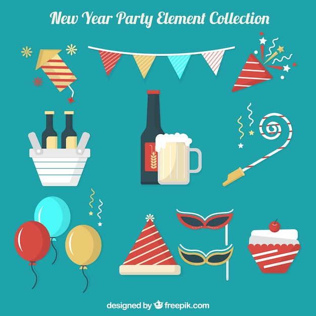 Pack of new year items in flat design Free Vector