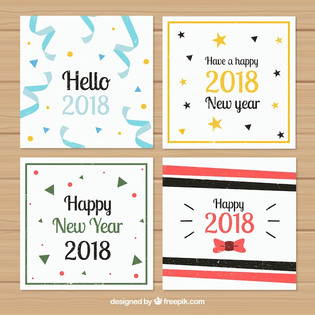 pack of new year party cards free vector
