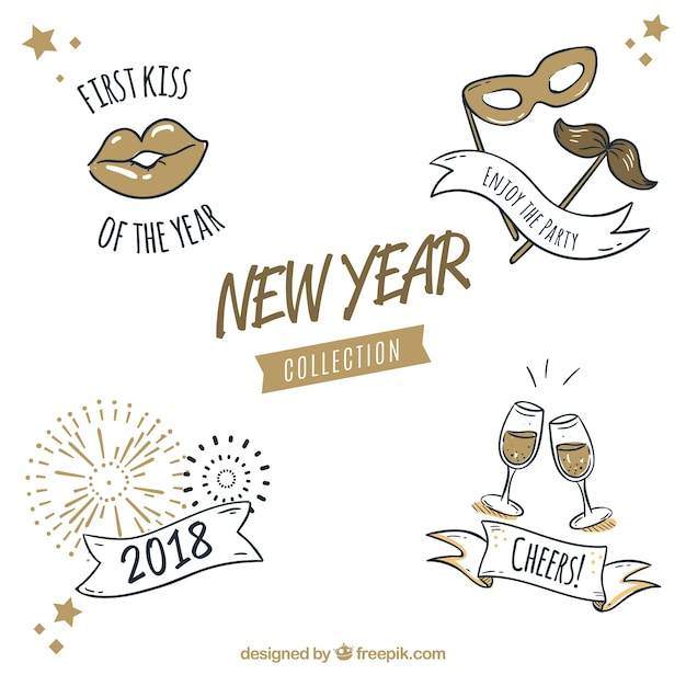 Pack of new year party elements