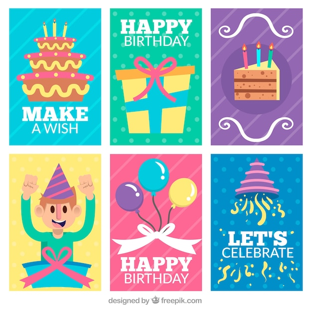 Pack Of Nice Birthday Cards Free Vector