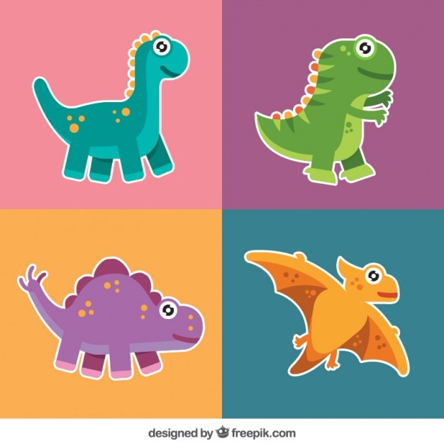 pack of nice dinosaur labels vector free download