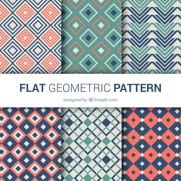 Pack of nice patterns of geometric shapes in vintage style
