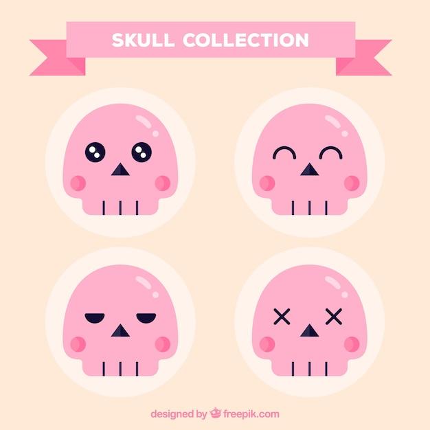 Pack of nice pink skulls in flat design