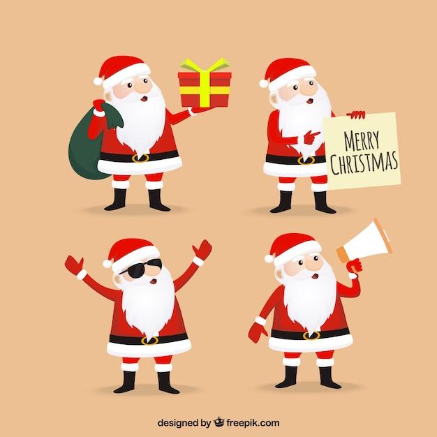 Pack of nice santa claus