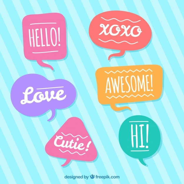 Pack of nice speech bubbles with messages