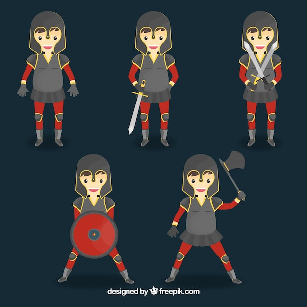 Pack of nice warrior in different postures