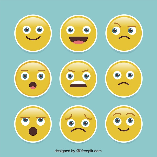 Pack of nine expressive emoji stickers Free Vector