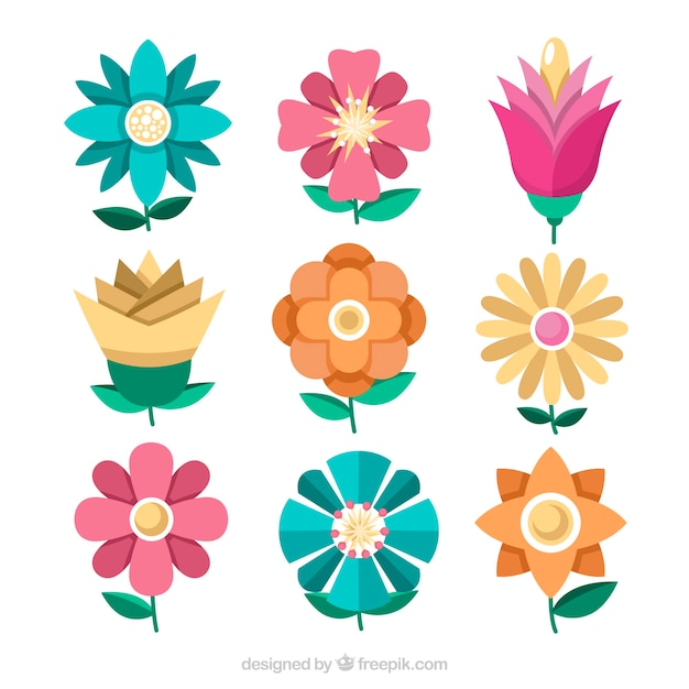 Pack of nine spring flowers vector free download pack of nine spring flowers free vector mightylinksfo