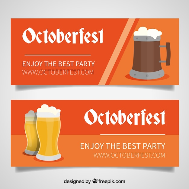 Pack of oktoberfest banners with beer mugs