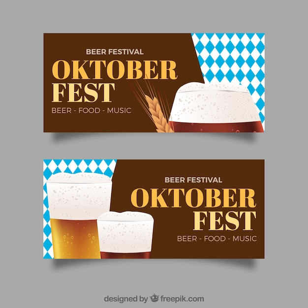 Pack of oktoberfest banners with realistic beer and wheat