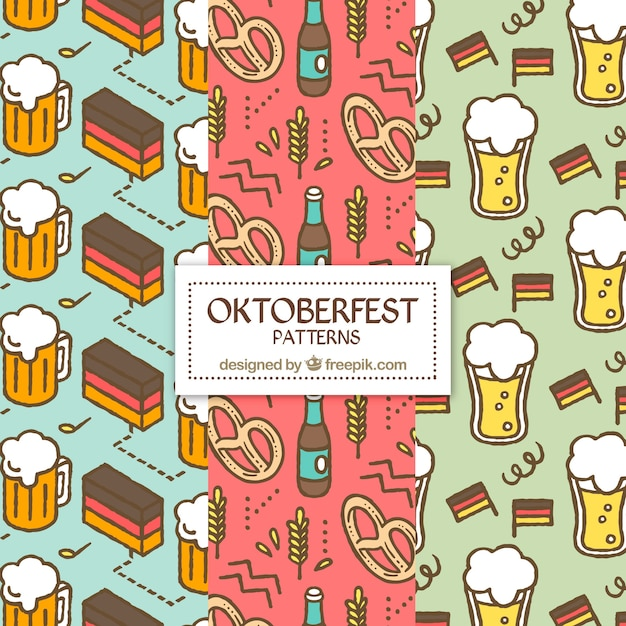 Pack of oktoberfest food and drink patterns