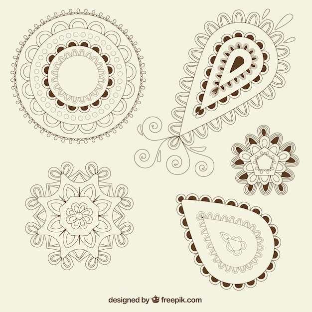 Pack of ornamental shapes paisley Vector | Free Download
